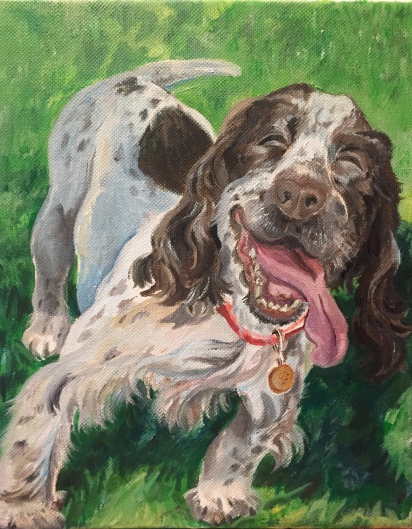 "Leo, portrait of a hilarious and fun-loving pup, 8""x10"", acrylic on canvas, 2017"