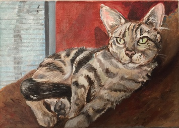 "Lounging tabby cat portrait, 5""x7"", acrylic on canvas, 2017"