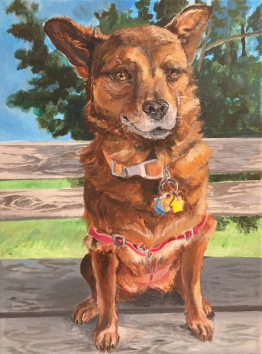 "Ruby on a park bench, 9""x12"", acrylic on canvas, December 2017"