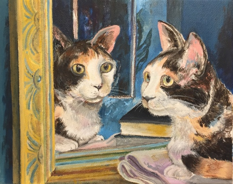 "Mae Mae and the Mirror, acrylic on canvas, 9""x12"", 2018"
