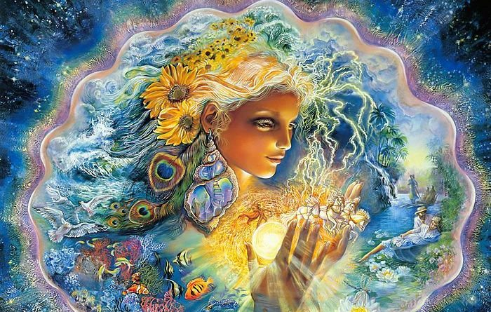 Gaia-Sophia goddess painting by Josephine Wall