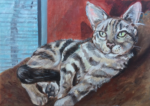 "Lounging Tabby, acrylic on canvas, 4""x6"", 2017"