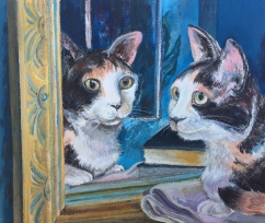 "Mei Mei and the Mirror, acrylic on canvas, 8""x10"", 2018"