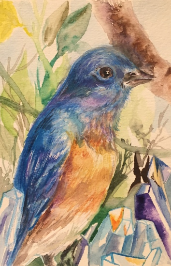 "Watercolor on paper, 4""x6"", Bluebird and Crystals, 2017"