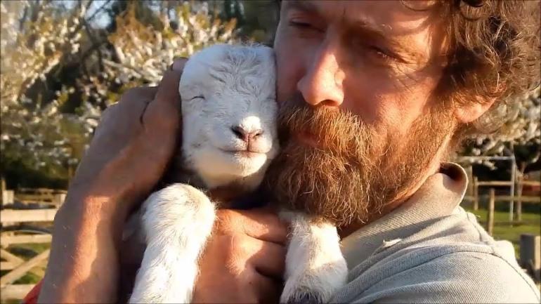 man with lamb