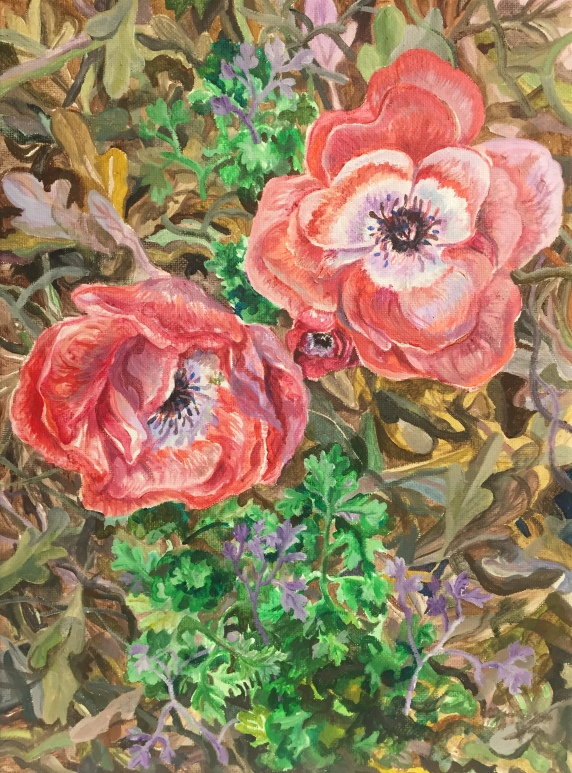 "Spring poppies, acrylic on canvas, 9""x12"", April 2018"