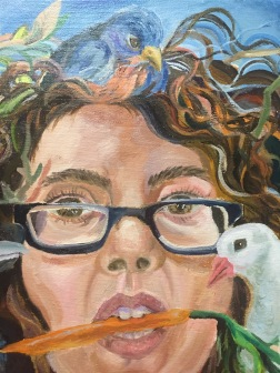 Close-up detail, self-portrait with spirit animals