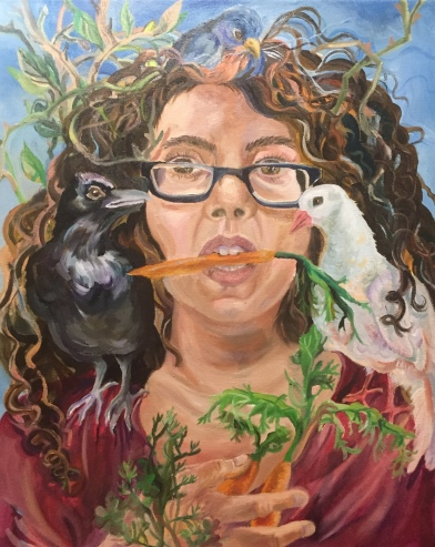 "Self-portait with totem birds, oil on canvas, July 2018, 16""x20"""