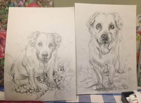 Preparatory sketches for portrait of Riley, graphite on paper, 9 x 12 inches, August 2018