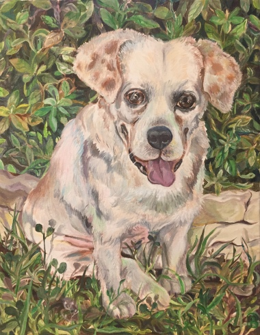 Riley: the finished portrait, 11 x 14 inches, acrylic on canvas, October 2018