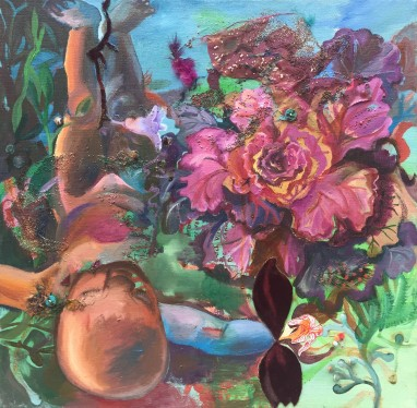Gender-Free Cabbage Rose, oil, velvet, button and bead collage on linen, 2008