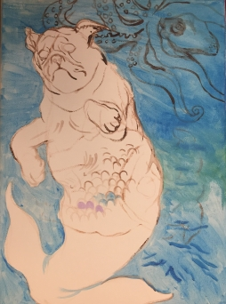 Pug Mermaid (preparatory sketch on canvas)