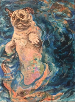 Pug Mermaid (finished work) acrylic on canvas, 9 x 12 inches, finished February 2, 2019