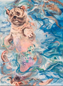 Pug Mermaid (in progress), acrylic on canvas, 9 x 12 inches, 2018