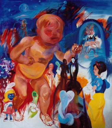 The Awakening: Leaving the Haunt, 170 x 150 cm, oil on linen, 2002