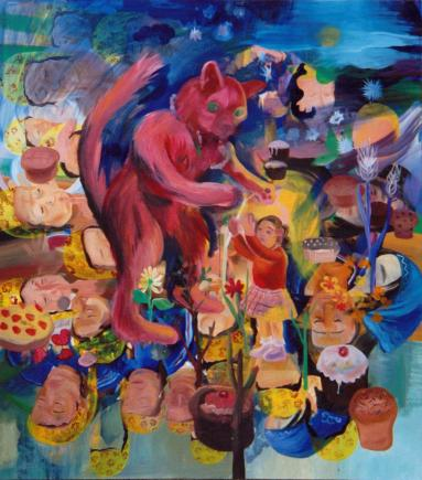 Chat Kraft II: Bewitching Bygones, 170 x 150 cm, oil on linen, 2001-2002