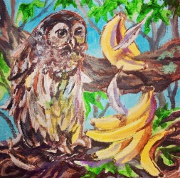 Owl with Bananas: Announcing a Memory, acrylic on canvas, 4 x 4 inches, March 2019