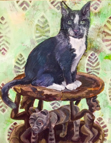 Black and White Tuxedo Cat on African Stool 2018